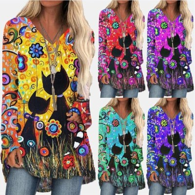New Cat Print  Loose V-Neck Long Sleeve Spring Autumn Womens Casual Top