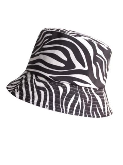 Zebra stripes Print Bucket Hat Black White Cotton Cap