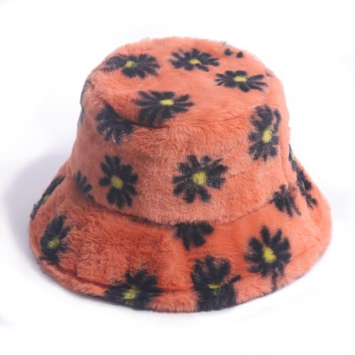 Faux Fur Winter Bucket Hat For Women Fashion Daisy Warm Fisherman Hat