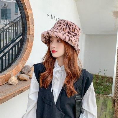 Leopard Print Fisherman Hat Female Autumn Winter Warm Fashion Fur Bucket Hat