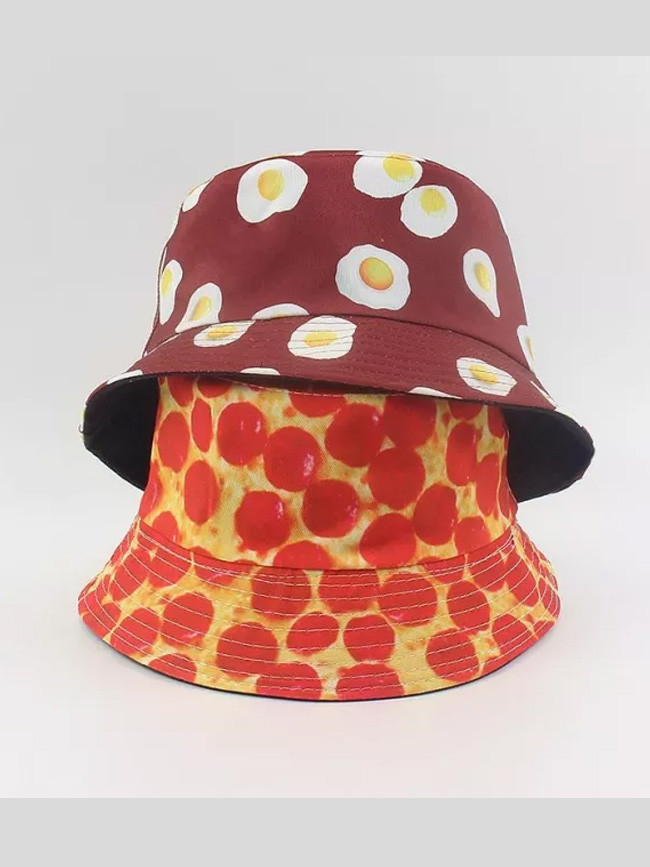 Fashion Cotton Egg Printing Bucket Hat Fisherman Hat
