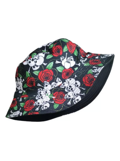Couple Cotton Hat Skull Floral Bucket Hat Sun Flat Top Fisherman Hats