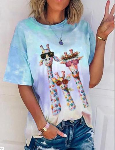 Women Summer Short Fashion Colorful Print Casual Tee Shirt
