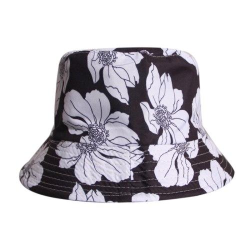 Black White Flower Printed Bucket Hats Cotton