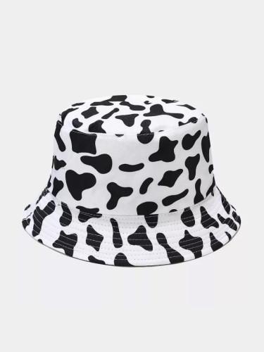 Fashion Black White Cow Pattern Bucket Hats