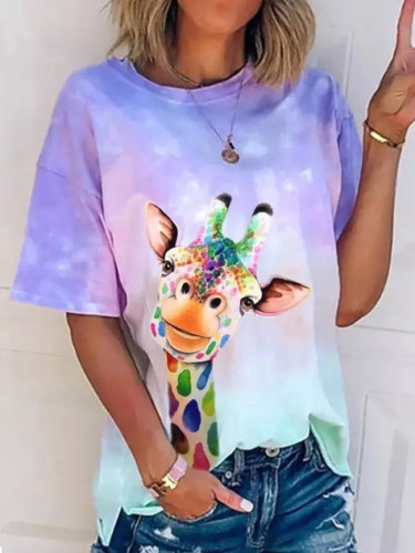 Women Summer Short Fashion Colorful Print Casual Tee Shirt