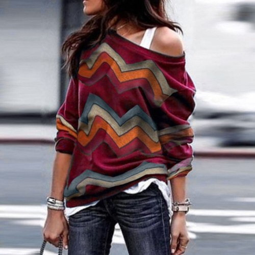 Summer Women O-Neck Printing Striped Longue Sleeve Women Casual Top