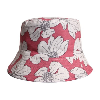 Black White Flower Printed Bucket Hats Cotton