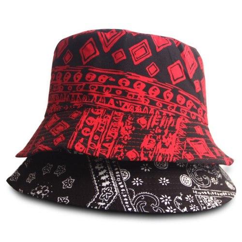 Black Red Design Fisherman Hat Harajuku Sunscreen Travel Bucket Hats