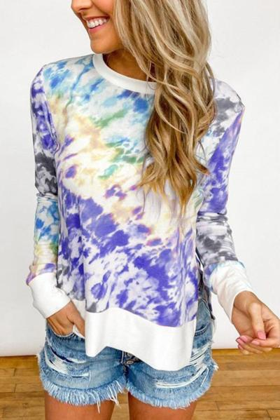 Fashion New Tie-Dye Printing Tops Spring and Autumn Women Round Neck Long-Sleeve T-Shirt