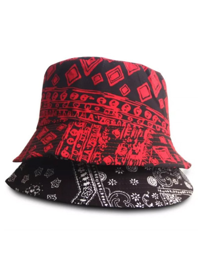 Black Red Design Fisherman Hat Harajuku Sunscreen Travel Bucket Hats