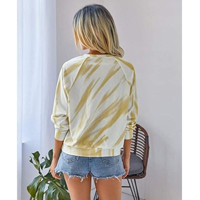 Women Tie-Dye Printed T-Shirt Round Neck Long-sleeve Spring and Autumn Casual Tops