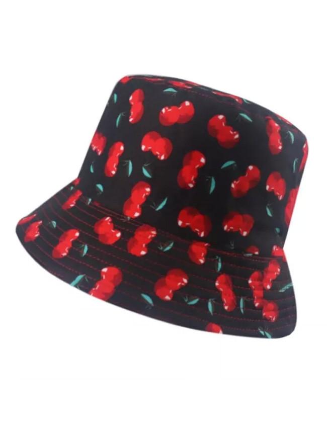 Black White Fruit Cherry Bucket Hats For Women Fisherman Hat