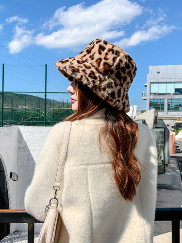 Leopard Print Fisherman Hat Female Autumn Winter Warm Fashion Fur Bucket Hat