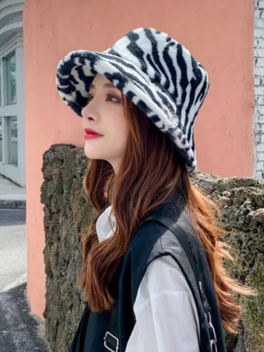 Fashion Winter Fur Bucket Hats Zebra Leopard Warm Hat