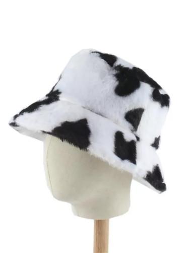 Winter Hats For Women Black White Cow Print Bucket Hat
