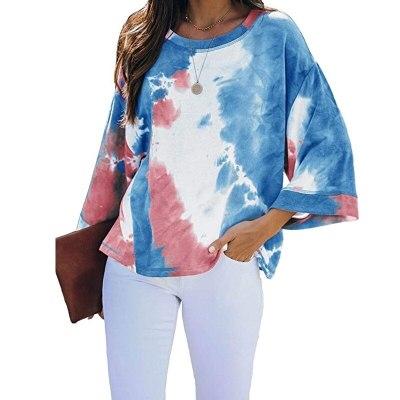 New Long Sleeve Loose Tie-dye Printed casual O Neck Ladies T-shirt Tops