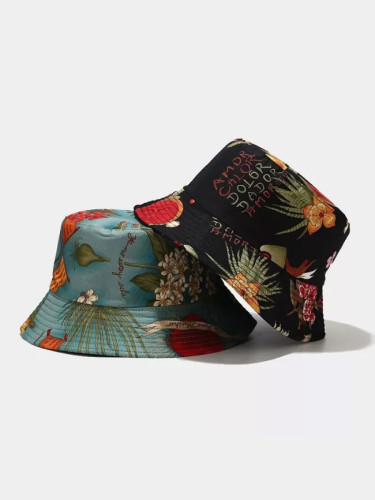 Floral Leaf Print Bucket Hats Fishing Caps