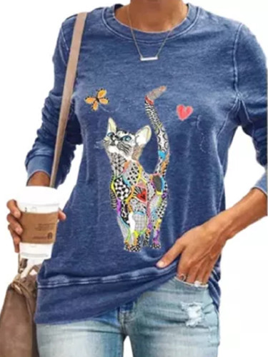 Cute Cat Print Casual Long Sleeve Autumn New Cartoon Women's Top