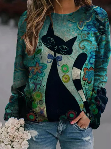 Black Cat Printed Painting Winter Casual  Long Sleeve Top