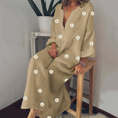 Women  Summer V Neck Long Sleeve Plus Size Loose Maxi Dresses