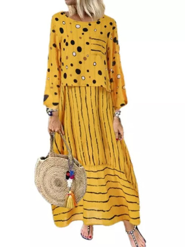 Polka Dot Yellow Two-piece Set Summer Sundress O-Neck Dress