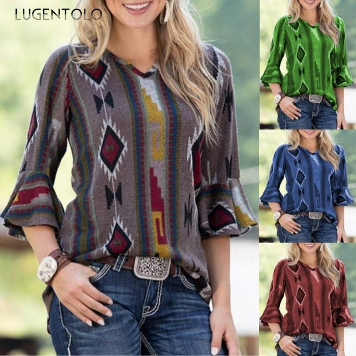 Womens Blouses Half Flare Sleeve Print V-Neck Casual Top