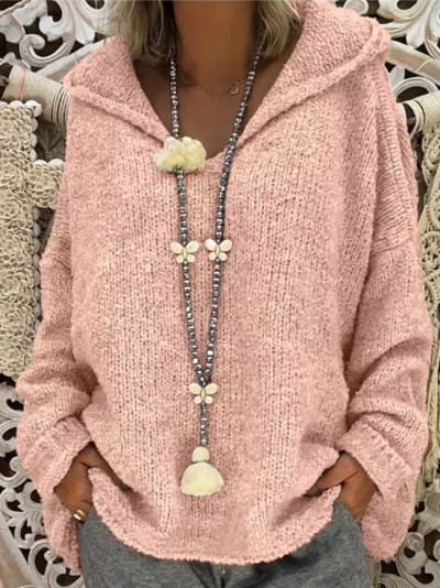 Women Fashion Loose Large Size Solid Color Hood Long Sleeves Sweater Tops
