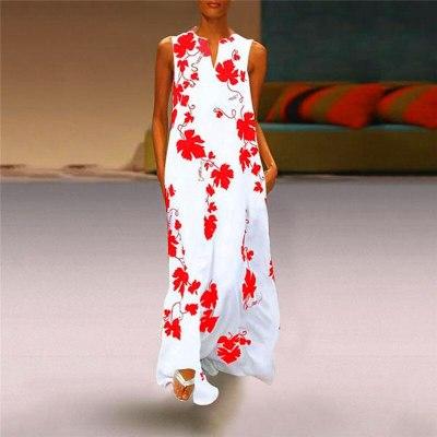 Women Summer Casual Linen Loose Sleeveless printed Long Dress