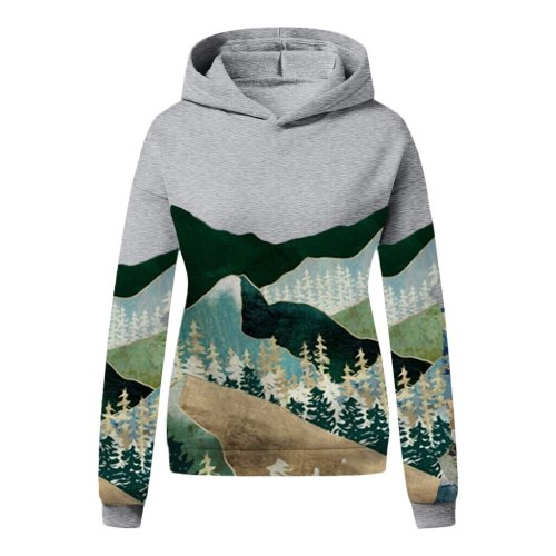 Mountain Print Sweatshirts Long Sleeve Pullover Tops Hoodies