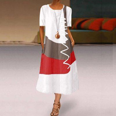 Long Summer Dresses Casual Short Sleeve Vintage Patchwork Bohemian O Neck Maxi Dress