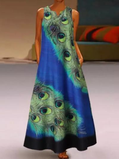 Women Summer Printing Casual Linen Loose Sleeveless printed Long Maxi Dress