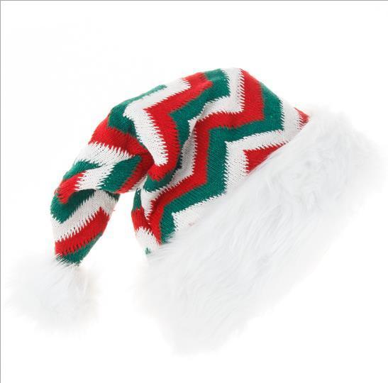 Decorative Plush Santa Hats Knitted Plush Ball Hat Cute Christmas Hat
