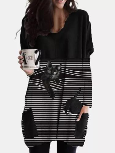 Black Cat Print O Neck Long Sleeve Loose Fashion Woman Dress