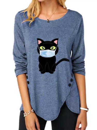 Winter Autumn O-neck Long Sleeve Women Loose Irregular cat print Top