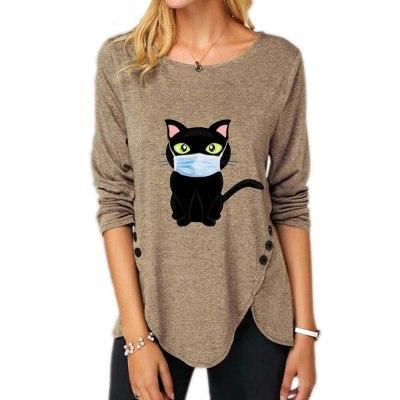Winter Autumn O-neck Long Sleeve Women Loose Irregular cat print Top
