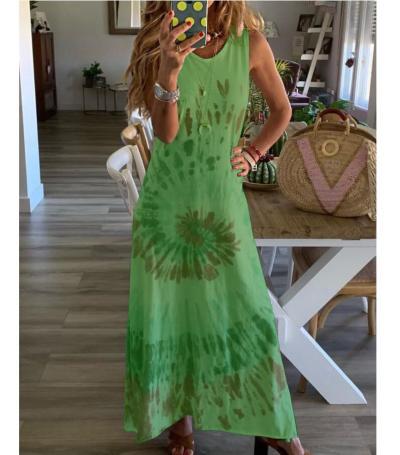 Summer O Neck Long Dress Casual Women Tie-Dye Print Beach Dress