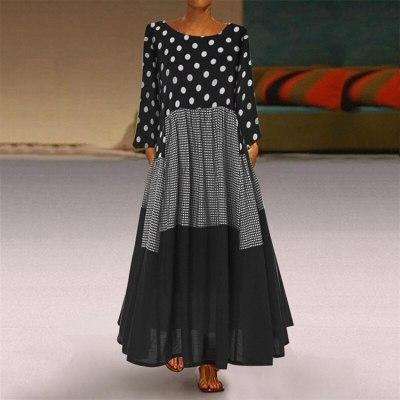 Women Vintage Autumn Boho Wave Point Print Long Sleeves O-Neck  Maxi Dresses