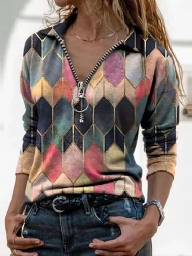 Autumn Geometric Print V Neck Casual Long Sleeves Zipper Female Tops
