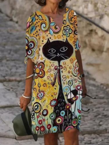 Women Elegant V-Neck A-Line Dresses 3/4 Sleeve Vintage Flower Cat Printed Casual Loose Streetwear Pullover Dress Vestidos