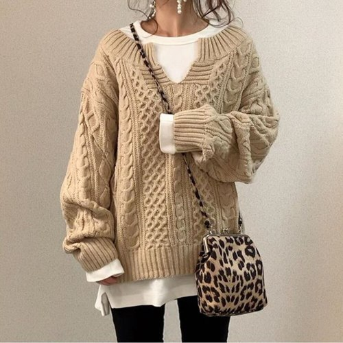 Autumn And Winter Knitted Sweater V-neck Long-sleeved Pullover Lazy Sweater Coat