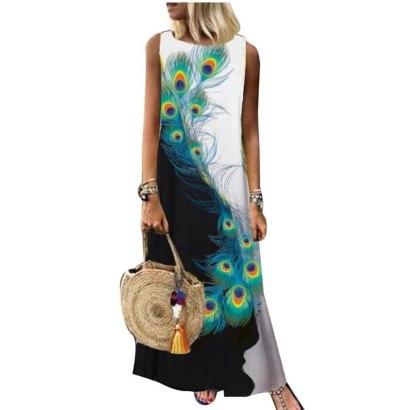 Women Sleeveless Boho Summer Ladies Vintage Casual Maxi Dress