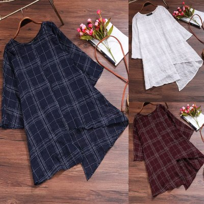 Women Linen Blouse Tops Long Sleeve Plaid Shirts Oversized Baggy Casual Vintage
