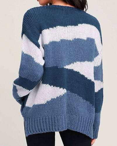 Women's Loose Knit Sweater Irregular Stripes Color Block Pullover