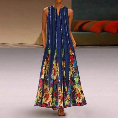 Women Summer Casual Linen Loose Sleeveless printed Long Maxi Dress