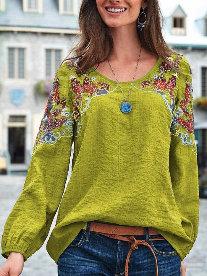 Autumn New Fashion Embroidery Print O-Neck Loose Casual Linen Shirt