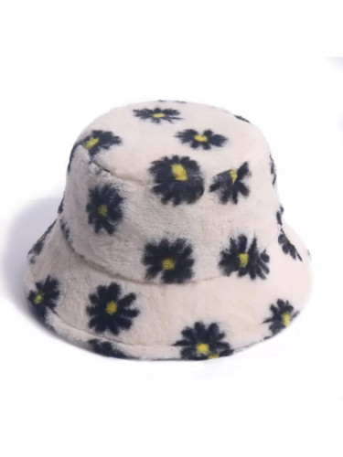Faux Fur Winter Bucket Hat For Women Fashion Daisy Warm Fisherman Hat