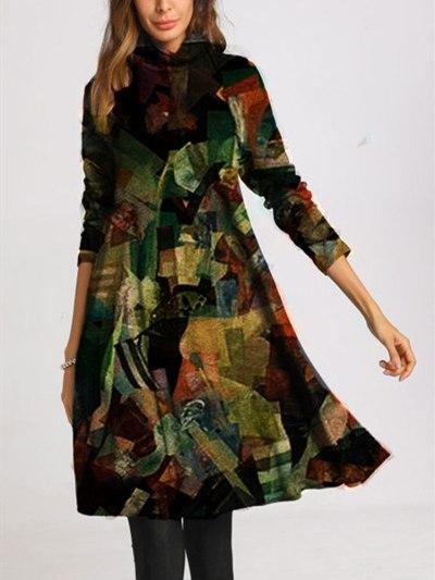 Autumn Turtleneck Lovely Cat Print Long Sleeve Dress