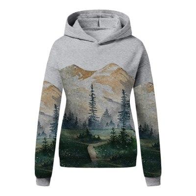 Mountain Print Sweatshirts Long Sleeve Pullover Tops Hoodies