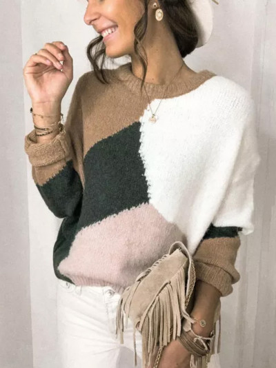 Fashion Women O-Neck Long Sleeve Print Patchwork Knitted Warm Sweater